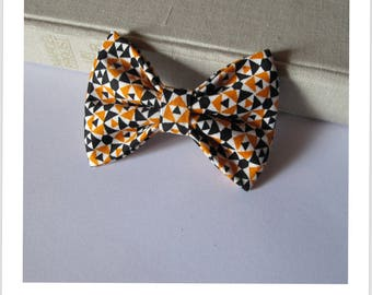 "hair bow ""clip - me"" triangle blue and yellow"