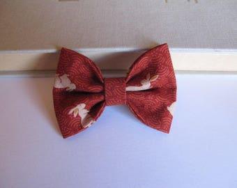 "hair bow ""clip - me"" orange brown rabbit pattern"