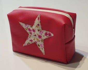 toilet bag kids pink leatherette