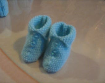 Hand knitted blue baby booties