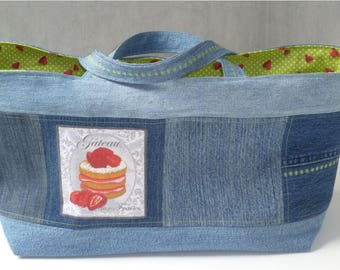 Strawberry tote bag recycled Blue Jean STRAWBERRIES, double cotton green patterns