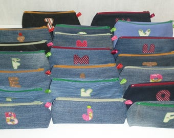 Set of 4 kits denim recycled vintage and applied letter: to order