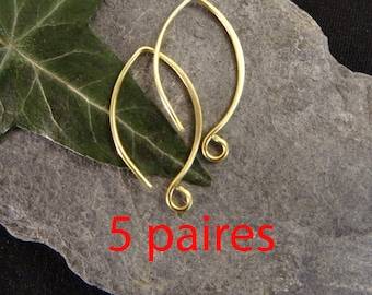 5paires (10pcs) medium round earring hoop to add a stone or a brushed brass charm