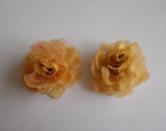 1 set of 2 light brown colour 40 organza fabric flower beads x 20 mm