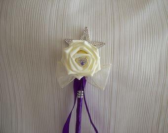 Cadbury purple & ivory flower girl wand. Wedding flowers.