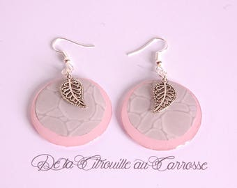 Earrings Creole, light gray and pale pink