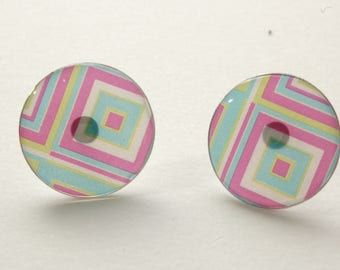 Square earrings round earrings, studs, pink, blue and green anise, pattern