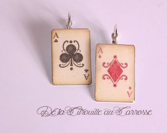 Earrings Pinochle playing cards ACE of clubs poker ACE of diamonds