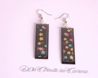Earrings multicolored stars, rectangle shape