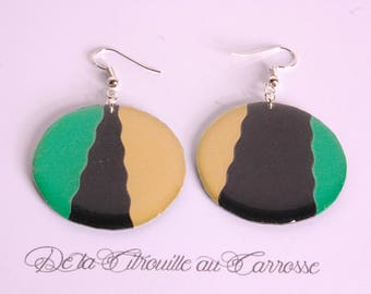 Asymmetrical, Emerald, black and gold earrings