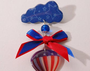 Hot air balloon, blue and red, Pearl, bow, stars and cloud brooch