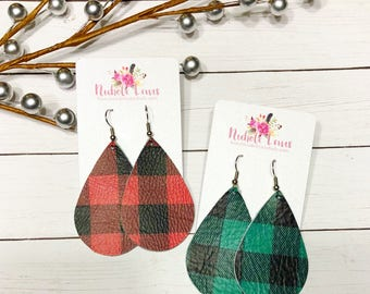 Buffalo Plaid Genuine Leather Teardrop Earrings
