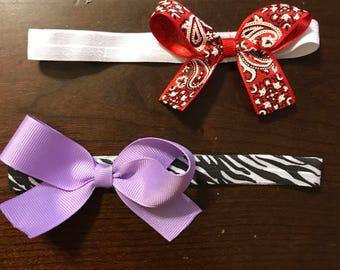 Printed Bow Headband Set