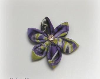 Interleave for creation flower printed purple/green 7cm