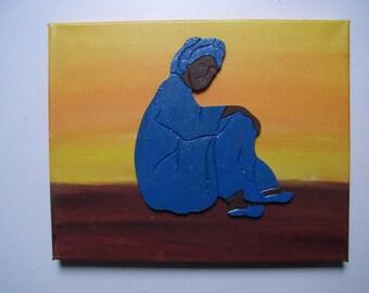 Tuareg sitting in the desert table