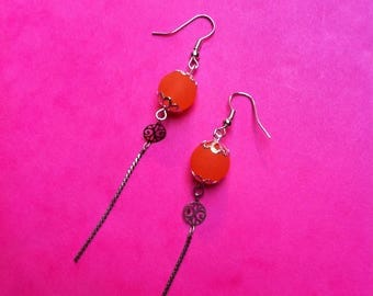 Pearl effect orange sea glass earrings