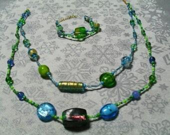 set (necklace and bracelet) chic, warm (blue green)