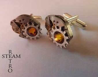 Steampunk cuff links - men's cufflinks - steampunk - wedding cufflinks accessories - gear buttons