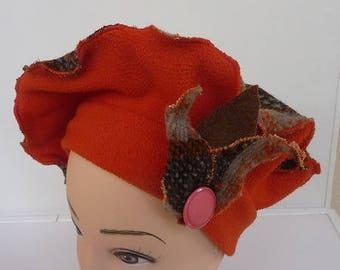 "Beautiful beret pattern ""SYLVIE"" wool and fleece"