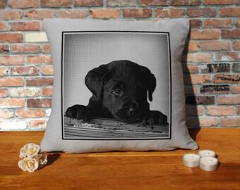 Labrador Retriever Dog Puppy Pillow Cushion - 16x16in - Grey