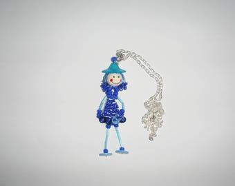 Necklace ROSETTA doll beaded pendant