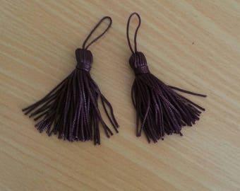 Handmade tassels, dark brown. Set of 2
