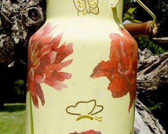 Canister, milk jug enamel decorated with decoupage technique