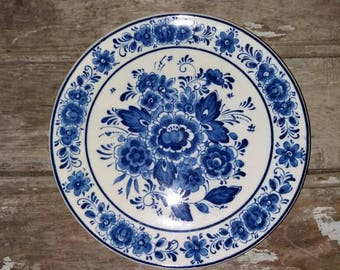 Vintage Royal Delft Decorative Plate With Floral Design ( handwork), Collectible, Gift, Decor, Blue and White, Flowers,Ceramic, Wall Plate