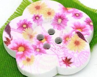 BBFL27103 - 2 flower 27 mm wooden buttons