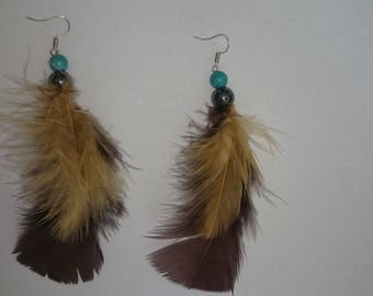 Earrings brown feathers