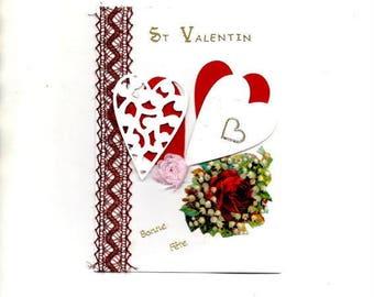 274 - St Valentine 2 hearts greeting card