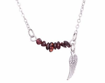 silver plated silver necklace Garnet chips