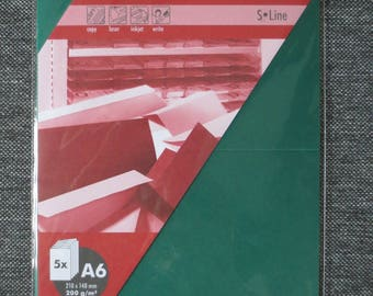 Set of 5 cards double green A6 210 x 148 mm 200 g/m² - Artoz S Line