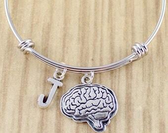 Initial & Human Brain Bangle Bracelet | Human Brain Charm Bracelet | Brain Jewelry Neurologist Bracelet Gift Ideas | Coram Creations 631