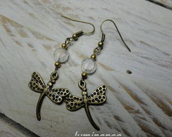 Bohemian earrings Dragonfly ° ° charm and white pearls