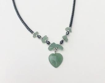 Hematite and Amazonite heart necklace
