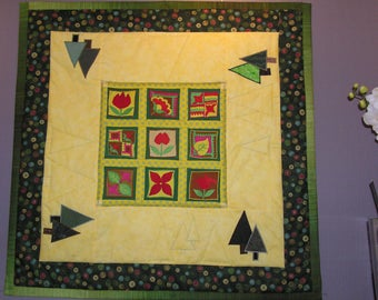 Medium yellow and green patchwork embroidered Afghan