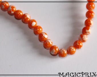 SET of 150 beads glass Orange Marbrees Ø 6 mm m2565