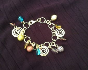 Silver plated with its charms and spiral bracelet