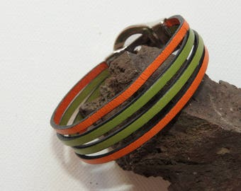 Bracelet 4 leather cords magnetic green/orange