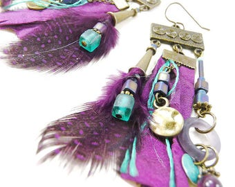 Earrings long boho chic turquoise plum purple