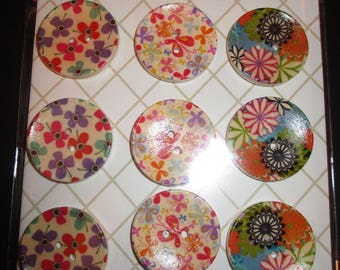 set of 9 colorful medium buttons