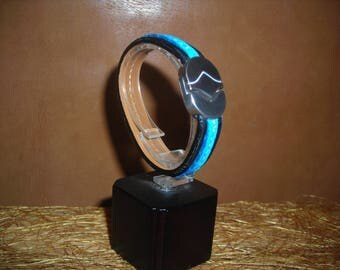 Two-tone black and blue genuine leather bracelet
