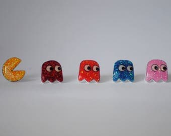 Glitter Pac-Man and Ghosts Pin Set