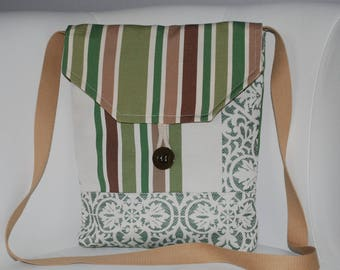 Handbag bag green/brown/beige/cream upholstery fabric