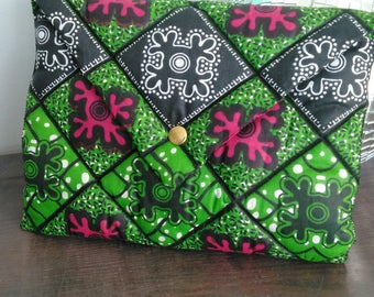 Padded pouch in African wax fabric