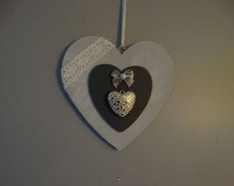 Wooden heart grey shaded, Interior and lace heart.