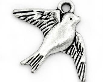 10 swallow birds 23mm x 18mm animal charms pendant