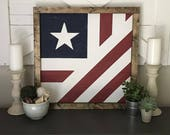 Folded American Flag Farmhouse Barn Quilt Square