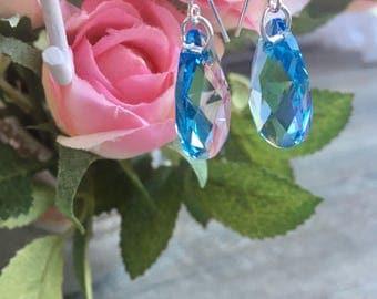 "Earrings ""malika"" 925 sterling silver and turquoise swarovski crystal"